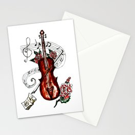 Brown Violin with Notes Stationery Cards
