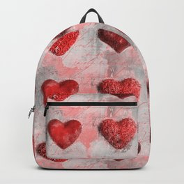 Heart Love Red Mixed Media Pattern Gift Backpack
