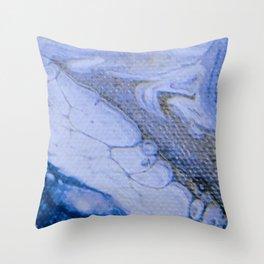 Acrylic Pour Blue Swirl Throw Pillow