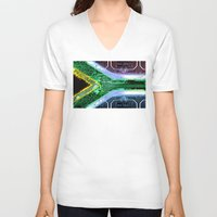 south africa V-neck T-shirts featuring circuit board South Africa (Flag) by seb mcnulty