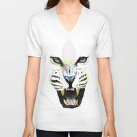 cheetah V-neck T-shirts featuring Cheetah  by Tetevi Teteh