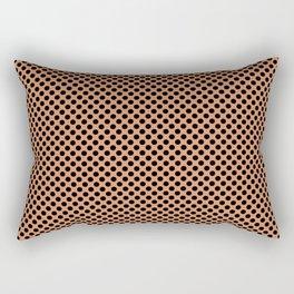 Copper Tan and Black Polka Dots Rectangular Pillow
