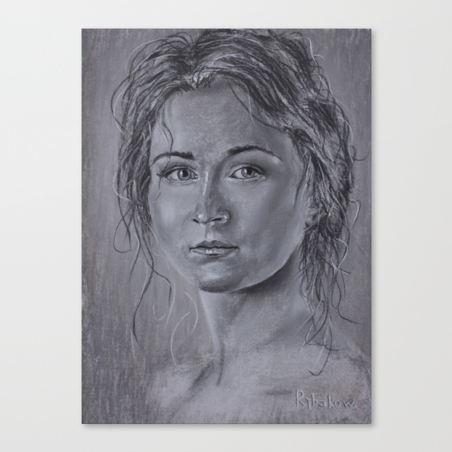 Woman portrait in pastel amazing speed painting beautiful girls canvas print
