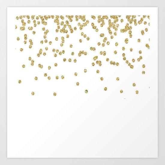 Sparkling golden glitter confetti - Luxury design #Society6 Art Print