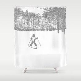 Little Skier II Grey Shower Curtain