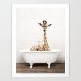 Skeptic Giraffe in a Vintage Bathtub (c) Art Print