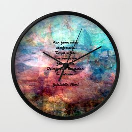 Challenging Fear Rumi Uplifting Quote With Beautiful Underwater Painting Wall Clock