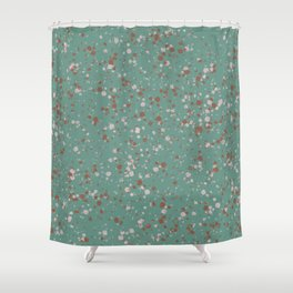 Jade with Terracotta + Pink Splatter Shower Curtain