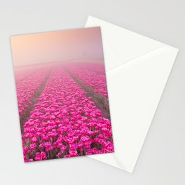 I - Sunrise and fog over rows of blooming tulips, The Netherlands Stationery Cards
