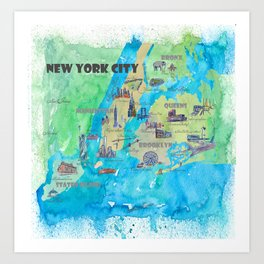 New York City Travel Poster Print Retro Favorite Map with Touristic Highlights Art Print
