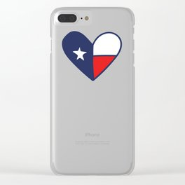 Texas Lone Star flag Heart Clear iPhone Case