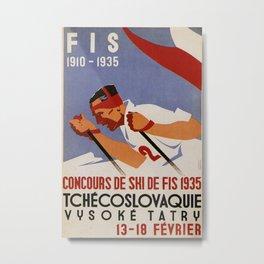 FIS 1910-1935 Vintage Travel Poster Metal Print