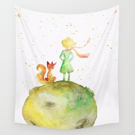 Little Prince and Fox Wall Tapestry