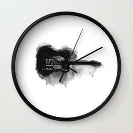 black and white electric guitar Wall Clock