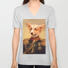 Corgi General Portrait Painting | Corgi Lovers! Unisex V-Neck