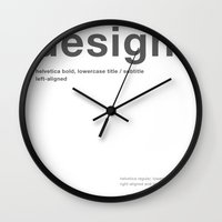 helvetica Wall Clocks featuring Helvetica by beardasaurus