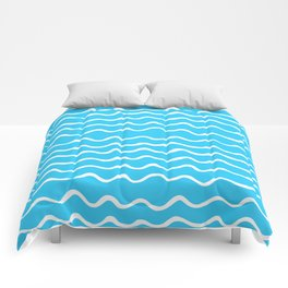 Simple aqua and white handrawn waves - for your summer Comforters
