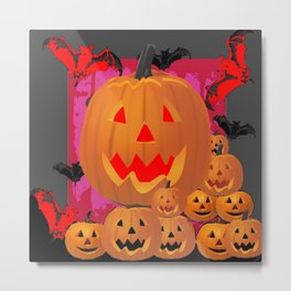 HALLOWEEN JACK O'LANTERNS & BATS ART Metal Print