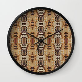 Orange Khaki Dark Caramel Coffee Brown Rustic Native American Indian Mosaic Pattern Wall Clock