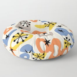 Retro Mid Century Modern Spaced Out Composition 344 Floor Pillow