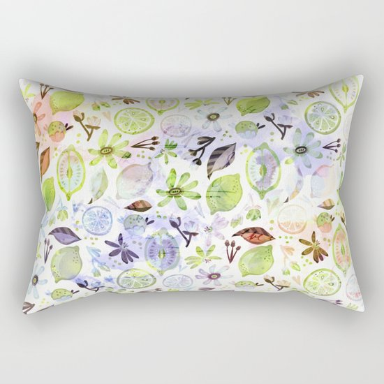 Lemons and flowers- floral Summer pattern on #Society6 Rectangular Pillow