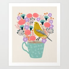 Bird and Flowers - Warbler by Andrea Lauren Art Print