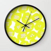 yellow pattern Wall Clocks featuring Yellow by MarikoSG