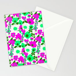 Mod Garden in White Pink + Green Stationery Cards