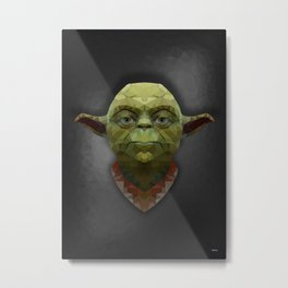 Yoda - Portrait - Low Poly Metal Print