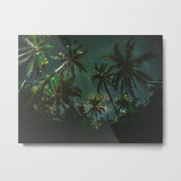 Tropical Palm Trees Night Star Sky Milky Way Carribean Night Sky Metal Print
