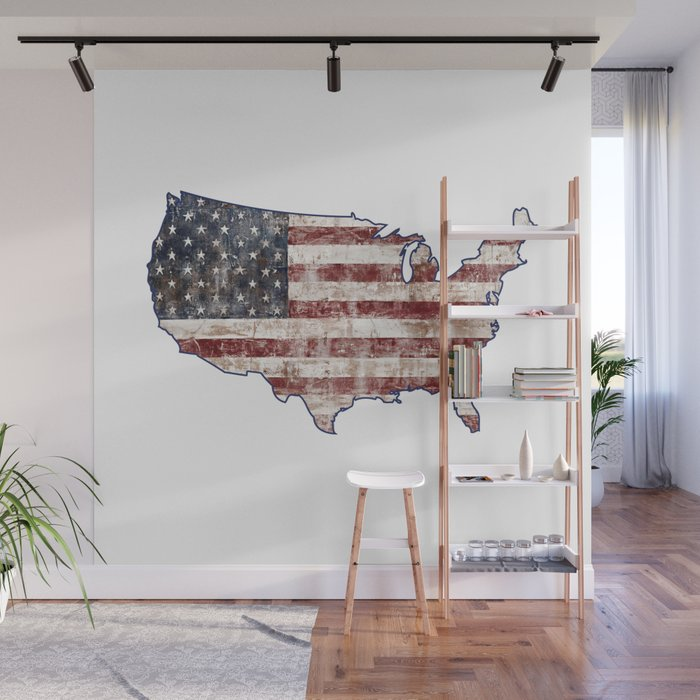 USA Map American Flag distressed rustic patriotic independence 4th ...