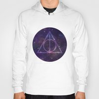 deathly hallows Hoodies featuring Deathly Hallows in Space by Hannah Ison