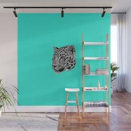 Amur leopard cub - turquoise - big cat Wall Mural
