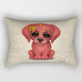 Cute Puppy Dog with flag of China Rectangular Pillow