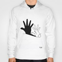 dude Hoodies featuring Rabbit Hand Shadow by Mobii