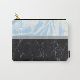 Light Blue Flower Meets Gray Black Marble #3 #decor #art #society6 Carry-All Pouch