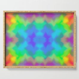 Rainbow Multicolored Watercolor Abstract Tie Dye Serving Tray