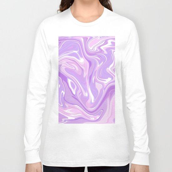 Blend of Pink Purple Velvet Violet Color Marble Long Sleeve T-shirt