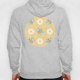 Bumble Bees & Daisies Pattern with Honeycomb Background Hoody