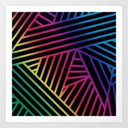Rainbow Ombre Pattern on Black Background Art Print