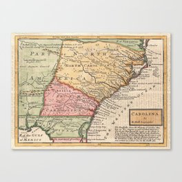 Vintage Map of The Carolinas (1746) Canvas Print