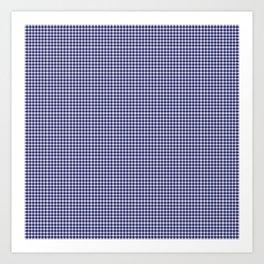 Midnight Blue Gingham Art Print