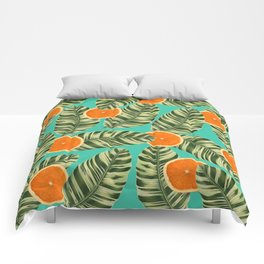 Oranges On Teal Exotic Comforters