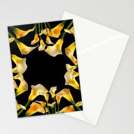 Golden Calla Lilies Black Garden Art Stationery Cards