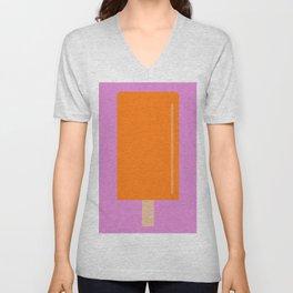 Orange Popsicle with pink background Unisex V-Neck