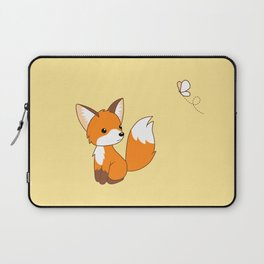 Cute Little Fox Watching Butterly Laptop Sleeve