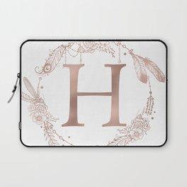 Letter H Rose Gold Pink Initial Monogram Laptop Sleeve