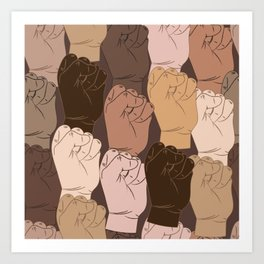 NO Racism ! Vector raised fists, power to the people, Vector seamless pattern Art Print