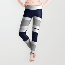 Navy Blue and Grey Stripe Leggings