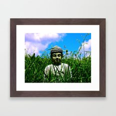 Buddha Looks Through Grass Framed Art Print